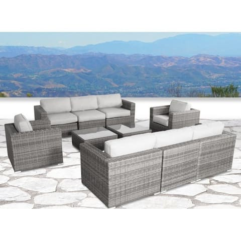 10 Piece Rattan Sectional Seating Group with Cushions
