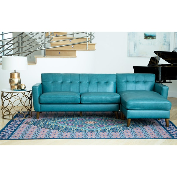 Abbyson Nancy Ocean Blue Top Grain Leather Sectional Sofa