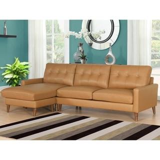 Abbyson Wright Mid Century Top Grain Leather Sectional Sofa