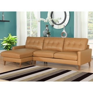 Abbyson Wright Mid Century Top Grain Leather Sectional Sofa
