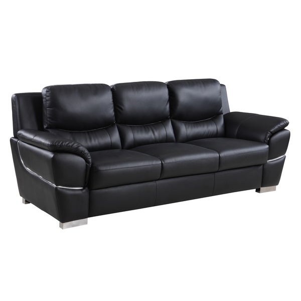 Global United Industries Wilson Luxury Leather/Match Upholstered Living  Room Sofa