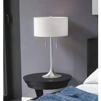 Porch & Den Highland Park Buena Vista 30-inch Brushed Steel Table Lamp