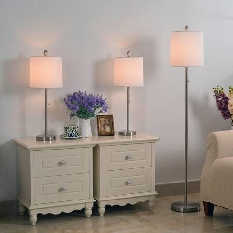 Porch & Den Newland Steel Floor Table Lamps (Set of 3)
