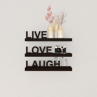 Porch & Den William Laminate 'Live, Love, Laugh' Inspirational Wall Shelves (Set of 3)