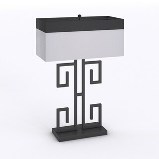 Porch & Den Guilford Whitfield 28-inch Greek Key Table Black Table Lamps (Set of 2)