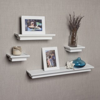 Porch & Den Montclair Bruce White Cornice Ledge Shelves with Photo Frames (Set of 4)