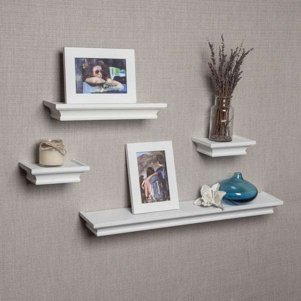 Porch & Den Montclair Bruce White Cornice Ledge Shelves with Photo ...