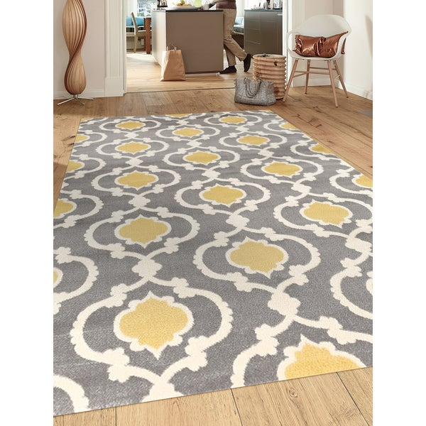 Porch & Den Marigny Touro Trellis Grey/ Yellow Area Rug - 7'10 x 10'2