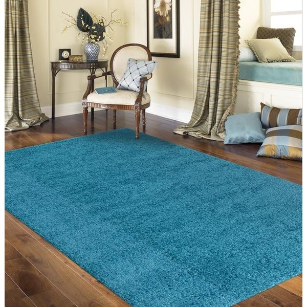 Porch & Den Marigny Kerlerec Solid Turquoise Indoor Shag Area Rug - 7'10 x 10'