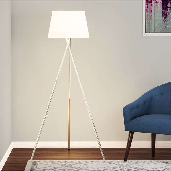 Carson Carrington Mausund 3-way 59-inch Brushed Steel Tripod Floor Lamp