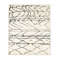 LR Home Matrix Scaffold White / Black Indoor Rug ( 7'9 x 9'5 ) - 7'9 x 9'6