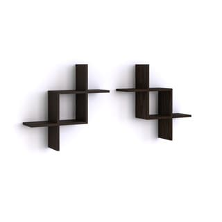 Porch & Den Montclair Stephen Black Reversed Criss-Cross Shelves in Black (Set of 2)