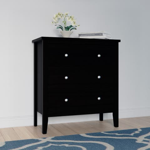 Copper Grove Petun Black Wood 3-drawer Chest of Drawers