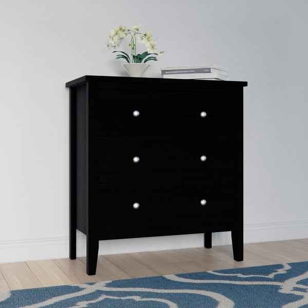 Copper Grove Petun Black Wood 3-drawer Chest of Drawers. Opens flyout.