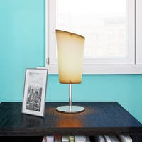 Porch & Den Brookline Boylston Chrome Side Table Lamps with Off-white Shades (Set of 2)