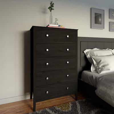 Porch & Den Dunder Black Pine 5-drawer Chest of Drawers