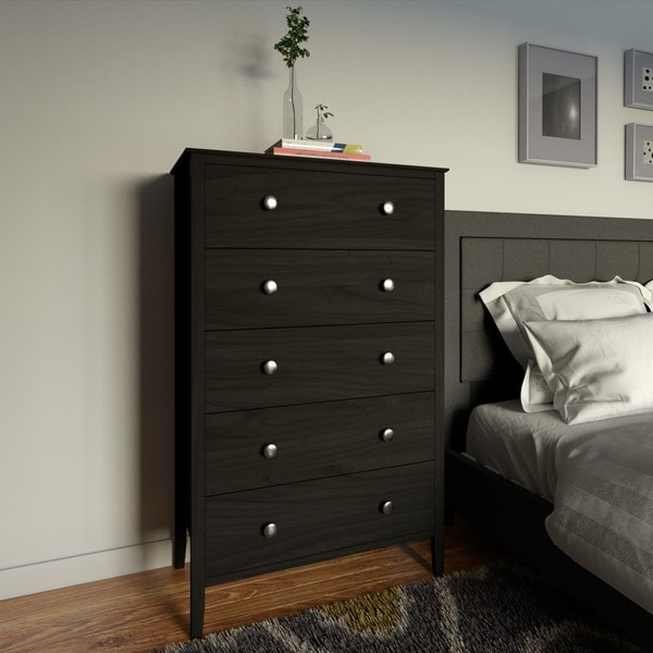 Porch & Den Dunder Black Pine 5-drawer Chest of Drawers. Opens flyout.