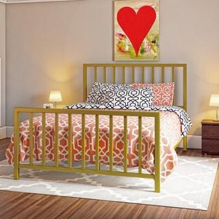 Porch & Den Dorchester Neponset Brushed Gold Metal Queen-size Slat Bed