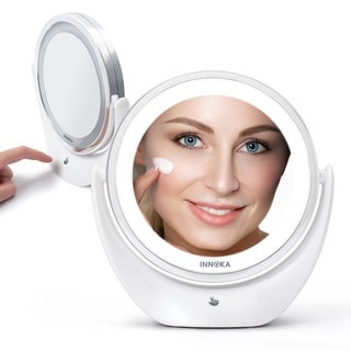 INNOKA 360° Swivel Dual-Sided 5X Magnification Magnfiying Rechargeable LED Makeup Round Illuminated Desk Mirror