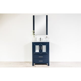 Newport Collection 24 inches in Navy w/ Integrated Sink and Millau Bridge Chrome Faucet