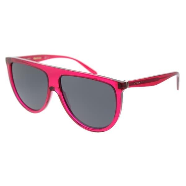 ab6898a777bb Celine Round CL 41435 QJK Womens Transparent Fuchsia Frame Blue Lens  Sunglasses