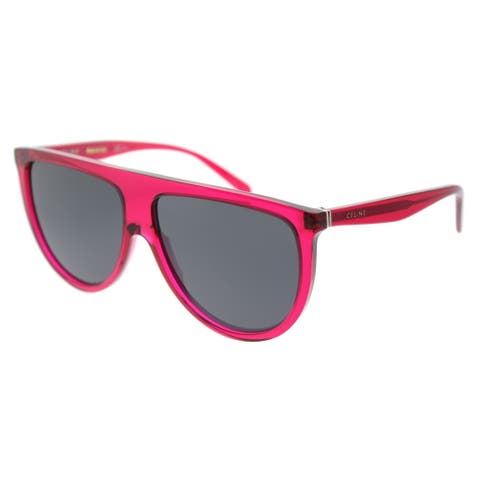 Celine Round CL 41435 QJK Womens Transparent Fuchsia Frame Blue Lens Sunglasses