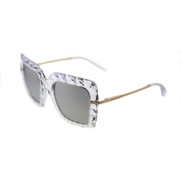 59b0ad9cb3c7 Dolce  amp  Gabbana Square DG 6111 31336G Womens Crystal Frame Silver  Mirror Lens Sunglasses
