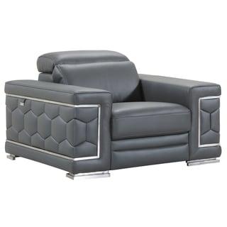 DivanItalia Ferrara Luxury Italian Leather Upholstered Living Room Chair