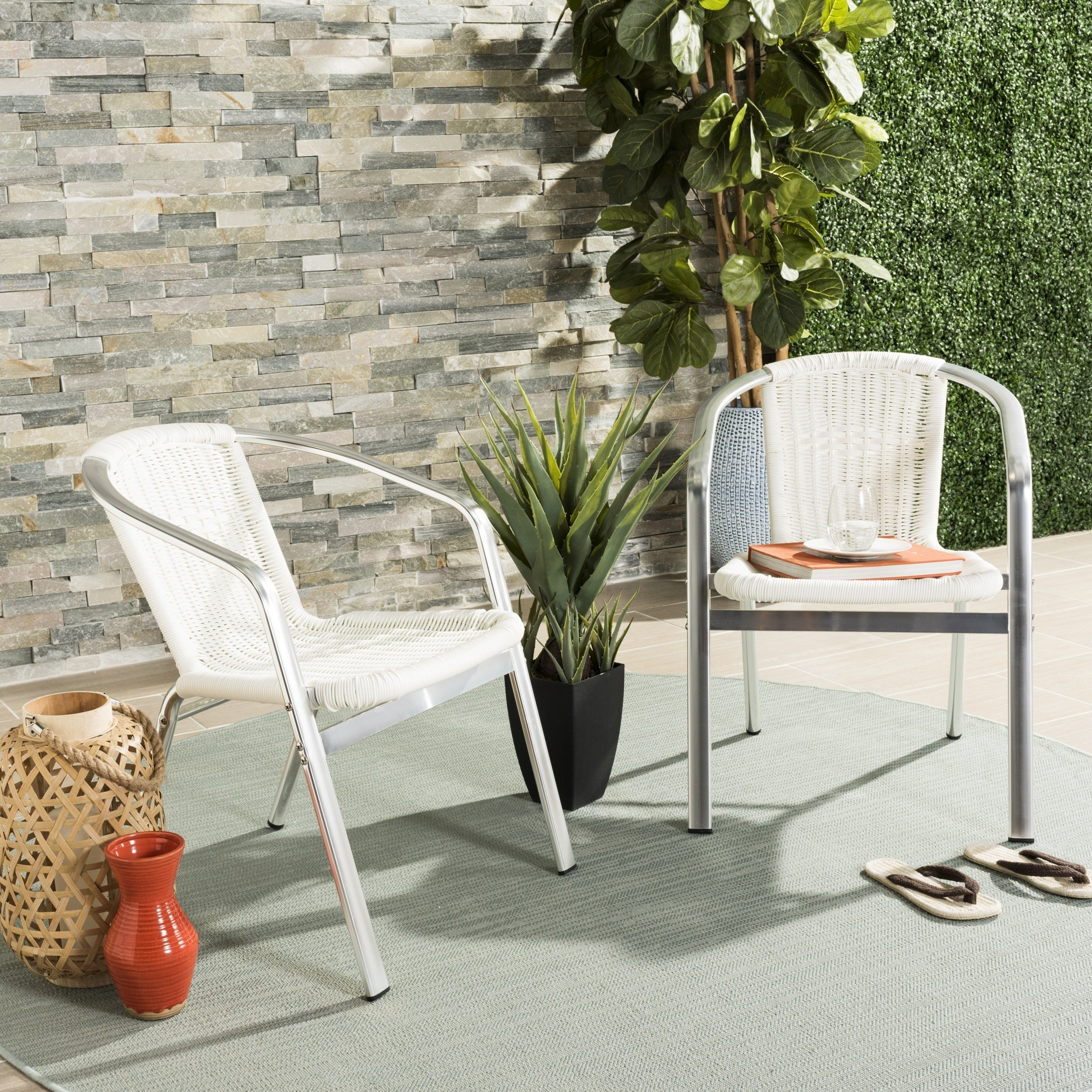 Terrific Details About Safavieh Wrangell Indoor Outdoor White Stacking Armchair White Ibusinesslaw Wood Chair Design Ideas Ibusinesslaworg