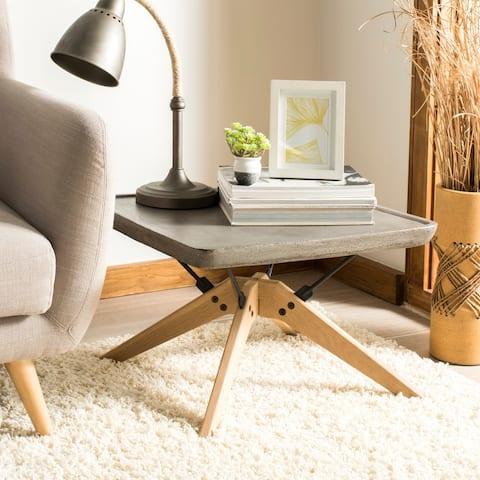 "SAFAVIEH Outdoor Living Delartin Modern Dark Grey Coffee Table - 22.1"" x 22.1"" x 14.6"""