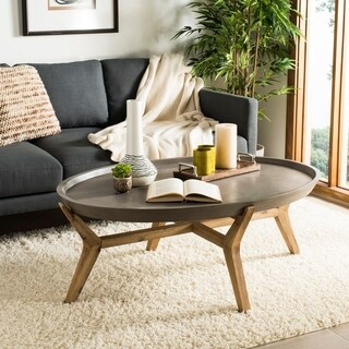 Safavieh Outdoor Living Hadwin Modern Concrete Dark Grey Coffee Table