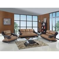 Wayne Luxury Leather/Match Upholstered 3-Piece Living Room Sofa Set