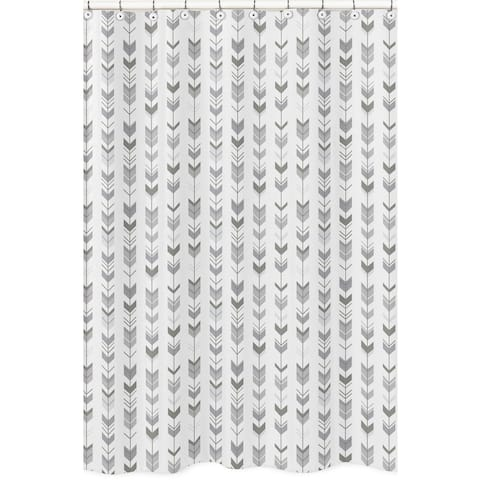 Sweet Jojo Designs Shower Curtain for the Grey and White Mod Arrow Collection