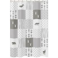 Sweet Jojo Designs Shower Curtain for the Grey and White Woodsy Collection