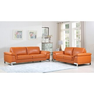 DivanItalia Arezzo Luxury Italian Leather Upholstered 2-Piece Living Room Sofa Set