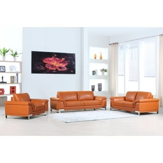 DivanItalia Arezzo Luxury Italian Leather Upholstered Complete 3-Piece Living Room Sofa Set
