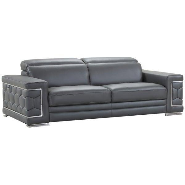 Divanitalia Ferrara Luxury Italian Leather Upholstered Living Room Sofa