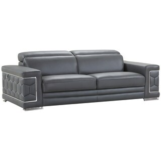DivanItalia Ferrara Luxury Italian Leather Upholstered Living Room Sofa