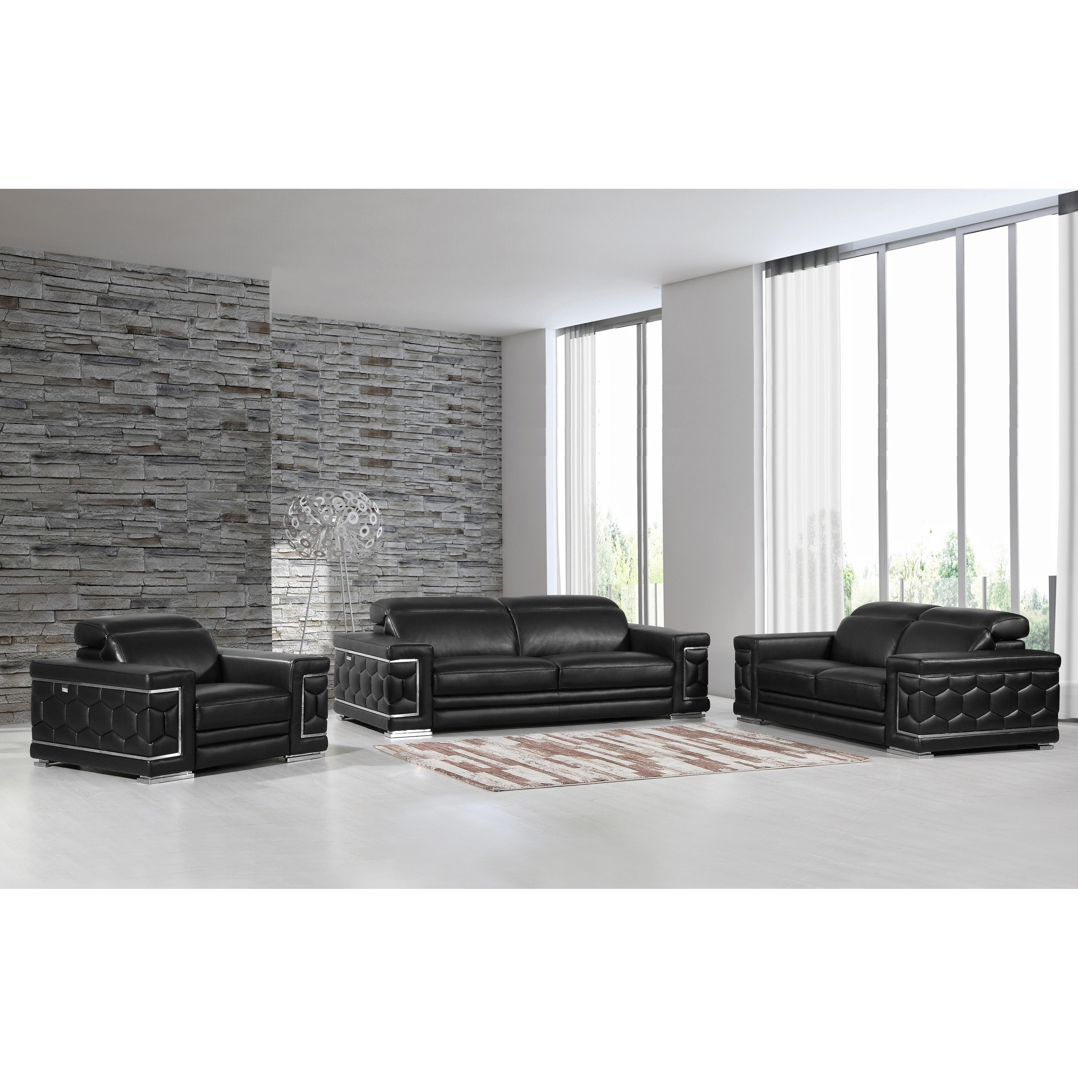 DivanItalia Ferrara Luxury Italian Leather Upholstered Complete 3 Piece Living  Room Sofa Set (Option