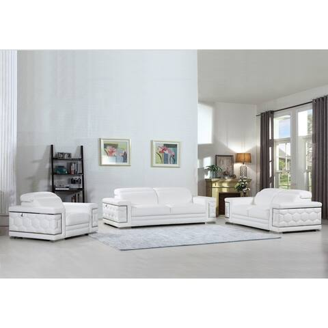 DivanItalia Ferrara Luxury Italian Leather Upholstered Complete 3-Piece Living Room Sofa Set