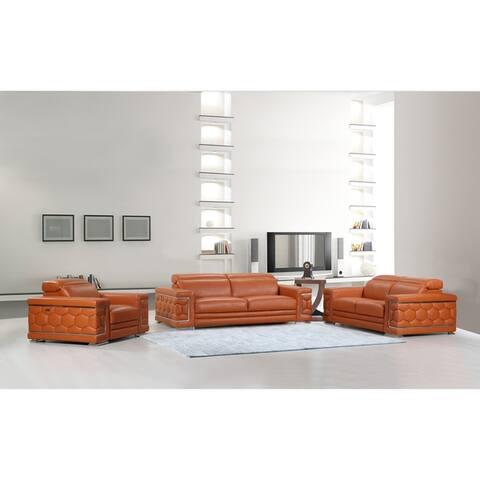 DivanItalia Ferrara Italian Leather Upholstered Complete 3-Piece Living Room Sofa Set