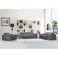 DivanItalia Ferrara Luxury Italian Leather Upholstered Complete 3-Piece Living Room Sofa Set