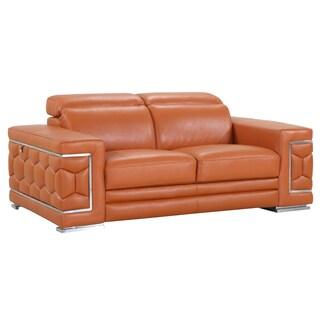 DivanItalia Ferrara Luxury Italian Leather Upholstered Living Room Loveseat