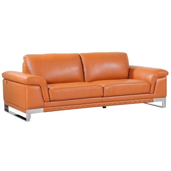 Divanitalia Arezzo Luxury Italian Leather Upholstered Living Room Sofa