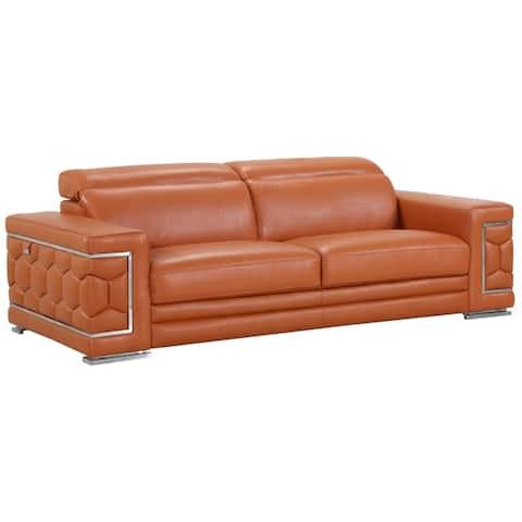 DivanItalia Ferrara Italian Leather Upholstered 2-Piece Living Room Sofa Set