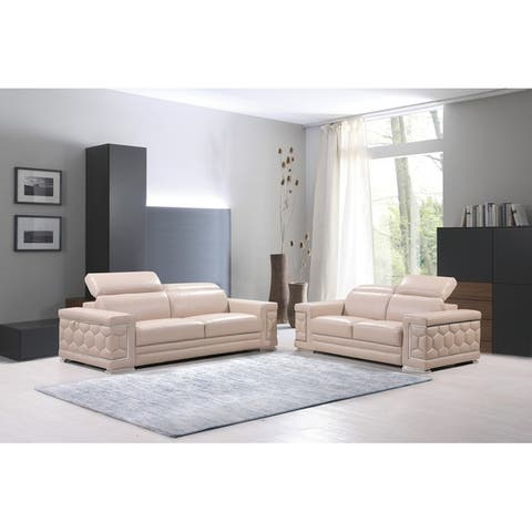 Buy Beige Leather Living Room Furniture Sets Online At