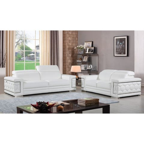 DivanItalia Ferrara Luxury Italian Leather Upholstered 2-Piece Living Room Sofa Set