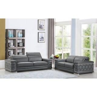 DivanItalia Ferrara Luxury Italian Leather Upholstered 2-Piece Living Room Sofa Set