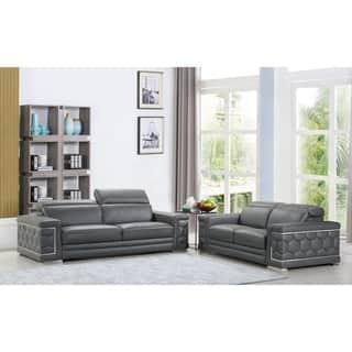grey leather living room furniture. DivanItalia Ferrara Luxury Italian Leather Upholstered 2 Piece Living Room  Sofa Set Grey Furniture Sets For Less Overstock com