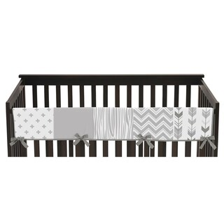 Sweet Jojo Designs Long Crib Rail Guard Cover for the Grey and White Woodsy Collection